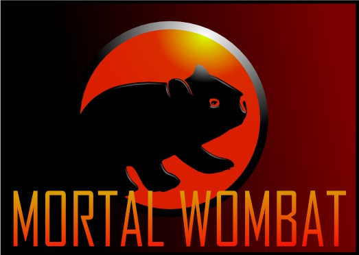 mortal wombat - an image of the mortal kombat logo but with a wombat instead of a dragon