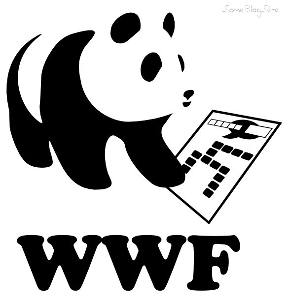 drawing showing a panda bear playing words with friends for WWF