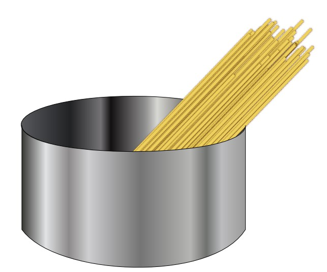 image of uncooked spaghetti sticking out of a pot