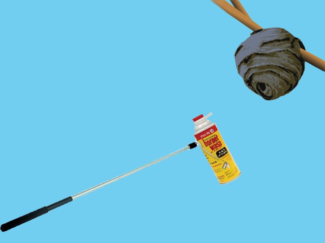 image of a selfie stick that is being used to spray for wasps