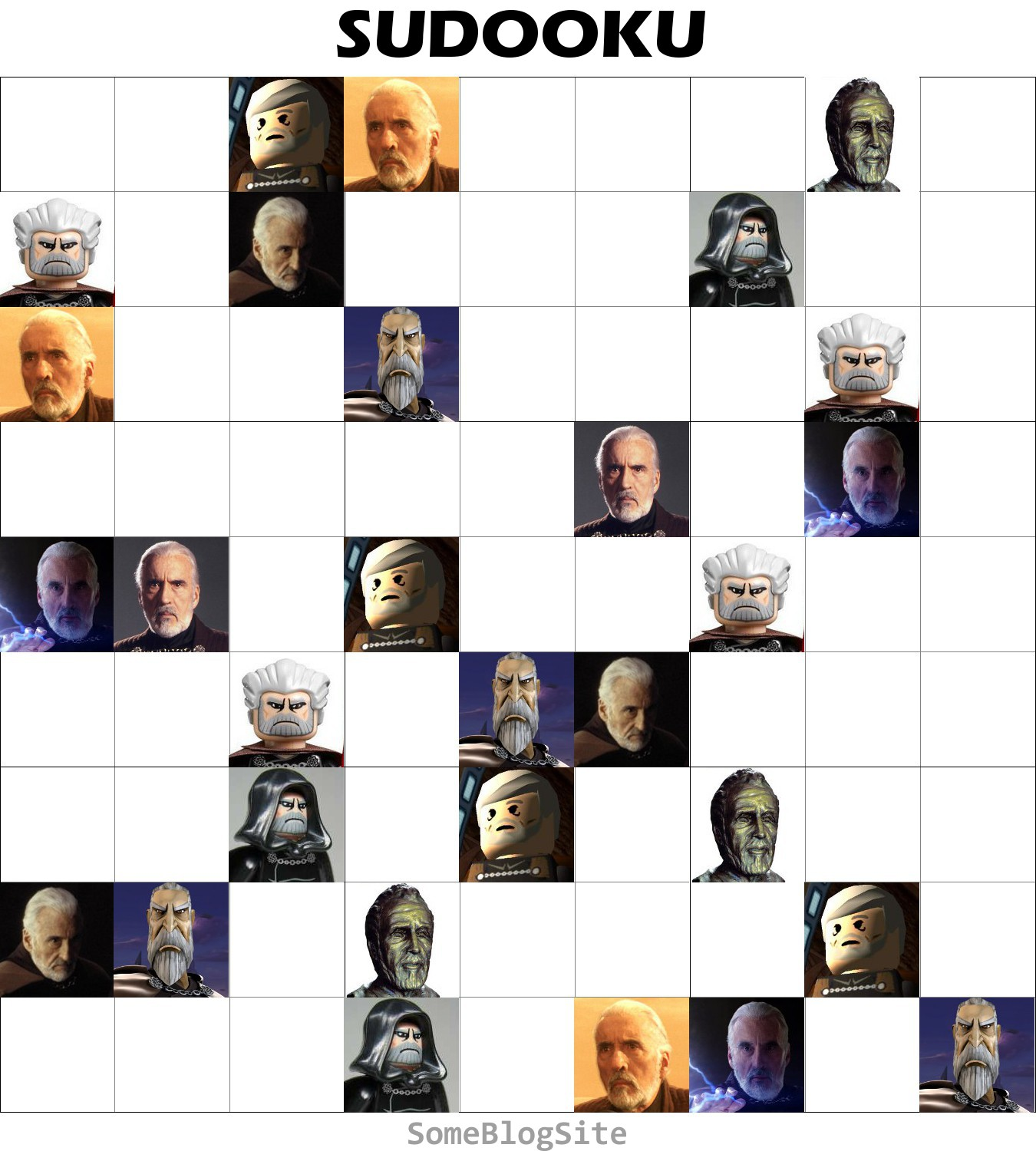 image of a Sudoku puzzle with Count Dooku instead of numbers