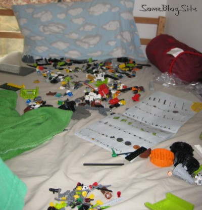 pictures of many Legos on a bad