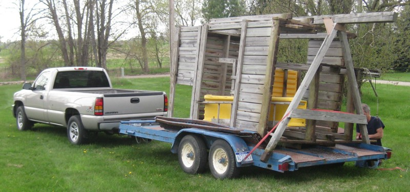 picture of a wooden play structure on the truck trailer