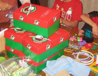 picture of boxes to pack for Operation Christmas Child