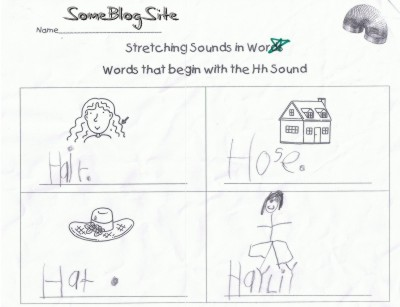 kindergarten schoolwork for the letter H