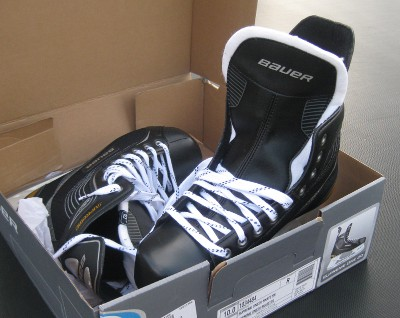 picture of new hockey skates in a box