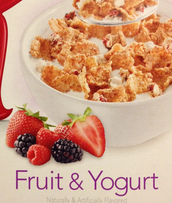 close photo of the front of a cereal box of Special K with fruit and yogurt, enlarged to show detail