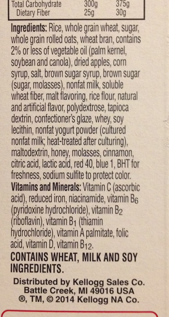 photo of the ingredients list of a cereal box of Special K with fruit and yogurt