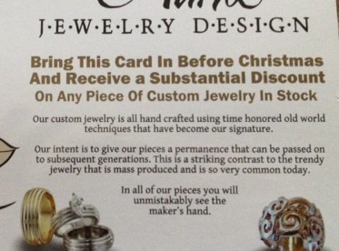 photo of a flyer advertising custom jewelry in stock