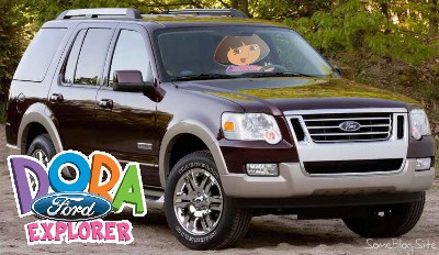 picture of Dora the Explorer driving a Ford Explorer