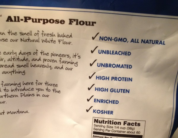 image of a bag of flour that claims to be high in gluten