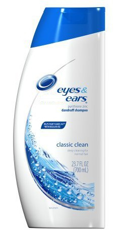 photo of a bottle of Head and Shoulders shampoo redone to look like Eyes and Ears shampoo