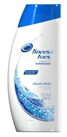 photo of a bottle of Head and Shoulders shampoo redone to look like Knees and Toes shampoo