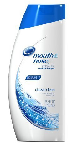 photo of a bottle of Head and Shoulders shampoo redone to look like Mouth and Nose shampoo