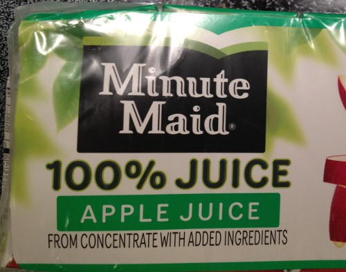 photo of a box of apple juice labelled as '100% juice'