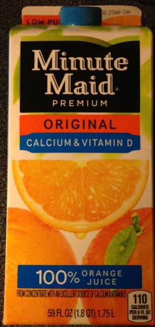 photo of a box of orange juice labelled as '100% juice'