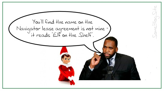 image of Kwame Kilpatrick blaming the Elf on the Shelf