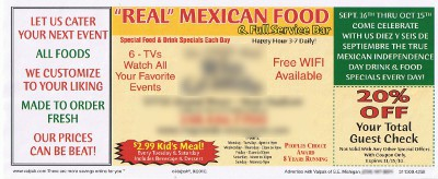 picture of flyer from Mexican restaurant