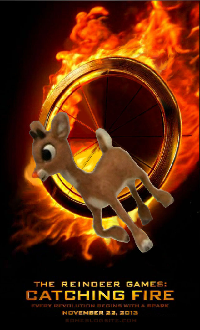 image of reindeer games: catching fire movie poster featuring Rudolph