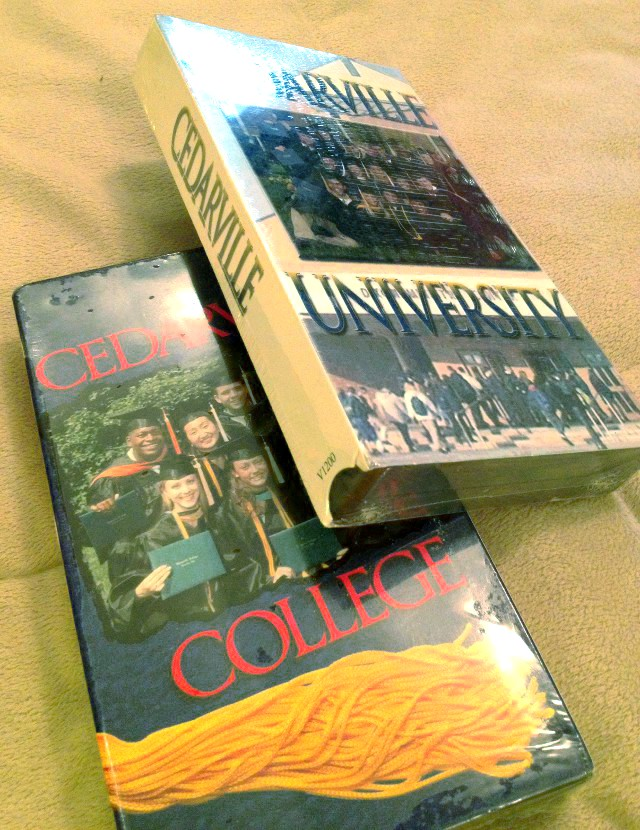 image of VHS tapes that promote Cedarville College and University