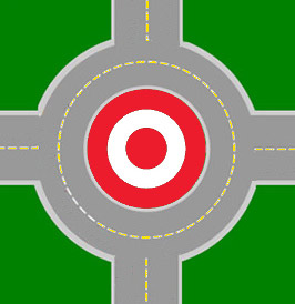 image of the Target logo in the middle of a roundabout circle, overhead view