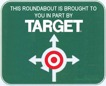 image of the Target logo in the middle of a sign for a roundabout
