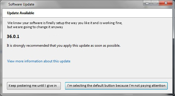 image of what a software update notice should look like, select the default button because I'm not paying attention