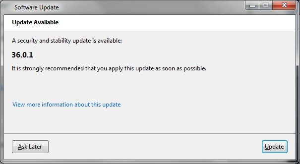 image of a typical software update notice, an update is available, apply this update as soon as possible