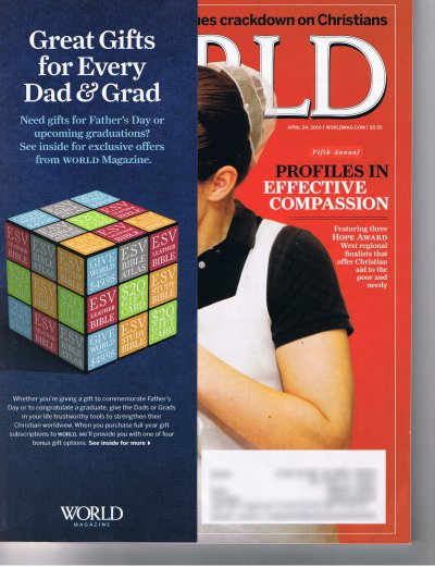 cover of an April 2010 issue of World magazine
