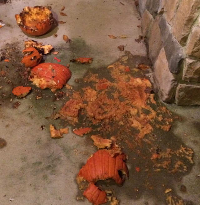 image of some smashed pumpkins