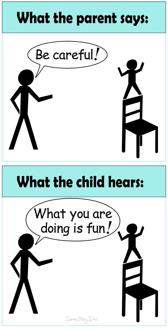 image of a parent saying be careful and the child hearing what you are doing is fun