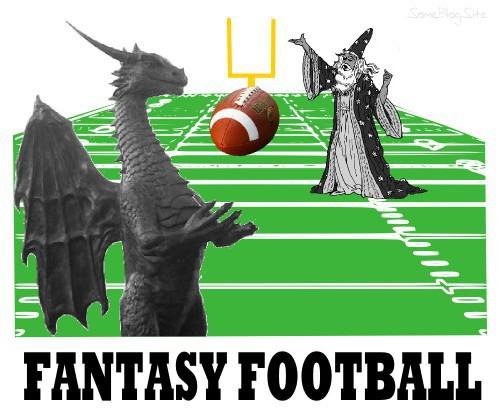 image of fantasy football - wizards and dragons on a football field