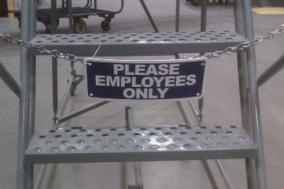 photo of sign saying to Please Employees Only