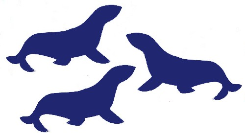 image of seal silhouettes colored navy blue, making them navy seals