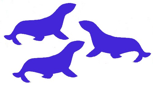 image of seal silhouettes colored royal blue, instead of navy seals