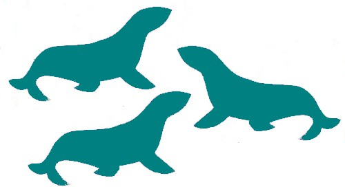 image of seal silhouettes colored teal, instead of navy seals