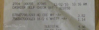 picture of receipt for extension cord and switch