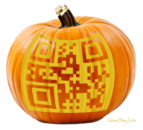pumpkin jack-o-lantern with a QR code cut into it