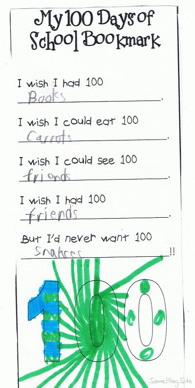 picture of schoolwork related to 100 days of first grade