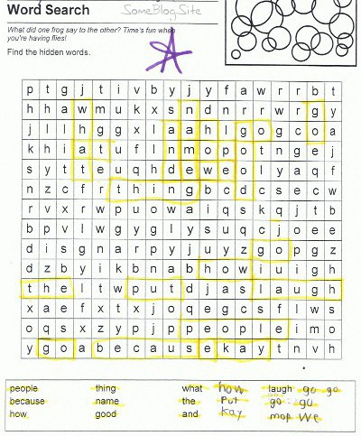 picture of schoolwork related to adding words to a word search
