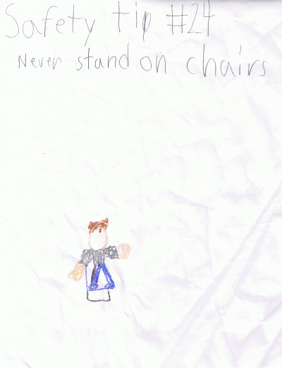 child's drawing about not standing on chairs