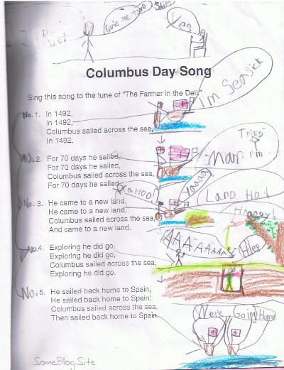 a child's drawing of Columbus' voyage