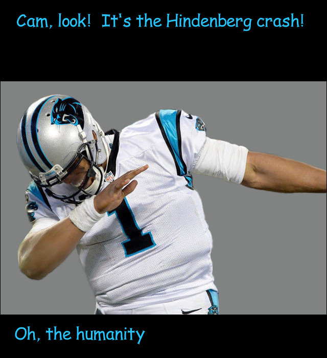 image of Cam Newton pretending to be a spectator at the crash of the Hindenberg
