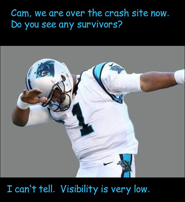 image of Cam Newton looking for a crash survivor from a plane
