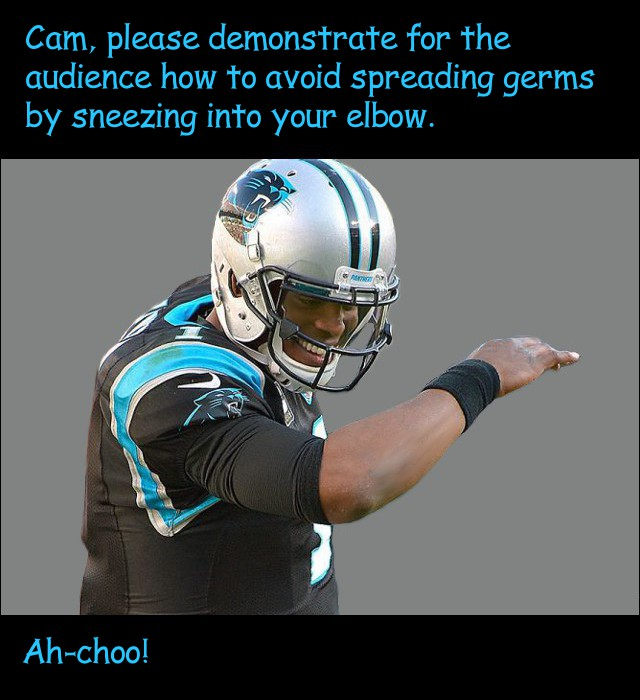 image of Cam Newton showing how to cough or sneeze into an elbow