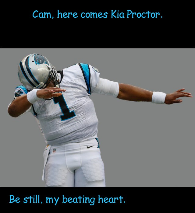 image of Cam Newton swooning at the sight of his heartthrob