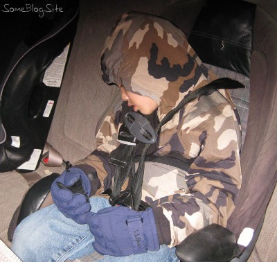 picture of Beta asleep in his car seat