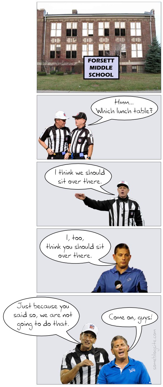 comic of NFL refs changing their minds about something because Jim Schwartz also wanted them to do it