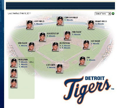 picture of the 2011 Detroit Tigers, all Tiger Woods