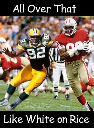 image of Reggie White covering Jerry Rice - the football version of White on Rice